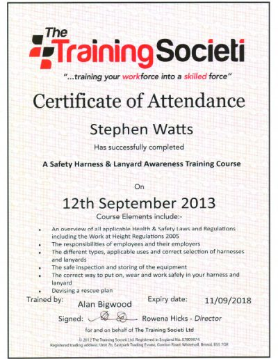 Certificate Safety Harness