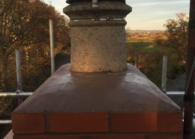 Capping-off chimney using a 3 in 1 sand and cement mix with a frost proofer added