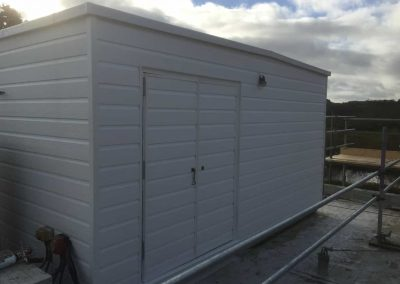Water tank room completed, suing wood grain solid UPVC