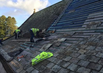 Re-roof Dunkeswell Abby using existing slates and reclaim to match