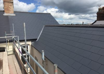 Finished roofing project in Taunton using Marley Eternit man-made slate and Marlet Eternit dry ridge system